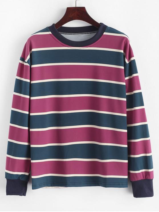 unique Drop Shoulder Pullover Stripes Sweatshirt - ROSE RED L