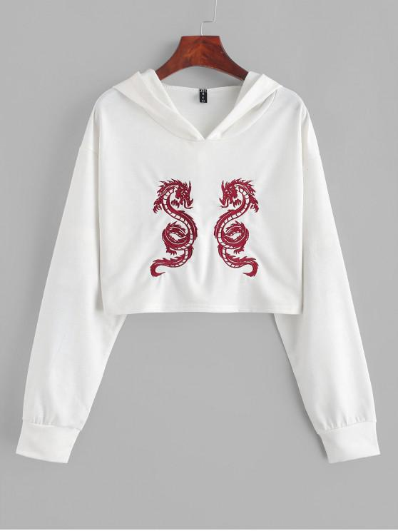 sale ZAFUL Cropped Dragon Embroidered Hoodie - WHITE M