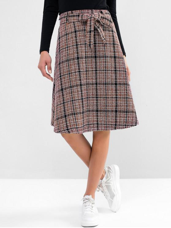 womens ZAFUL Tweed Knee Length Belted Skirt - RUBY RED S