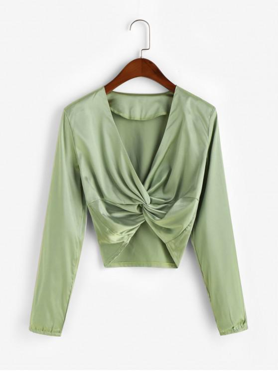 hot Cropped Twist Front Satin Top - LIGHT GREEN M