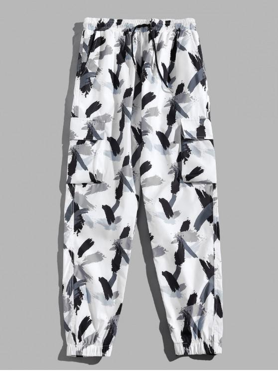 buy Camouflage Printed Multi-pocket Design Sport Pants - WHITE L