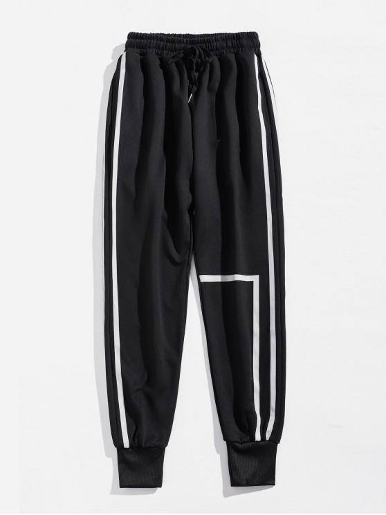 Pantalones deportivos casuales con cordón a rayas - Negro L