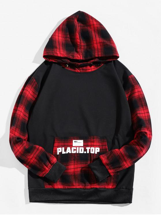 outfit Plaid Splicing Letter Graphic Applique Kangaroo Pocket Hoodie - RED L