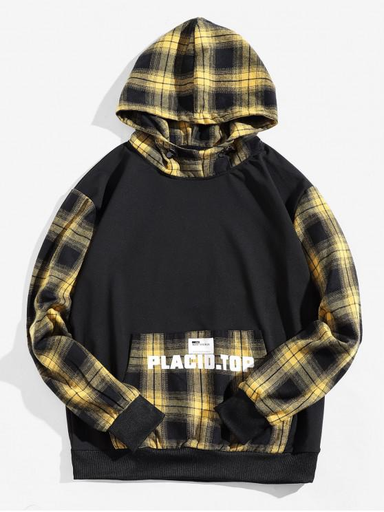 online Plaid Splicing Letter Graphic Applique Kangaroo Pocket Hoodie - YELLOW M