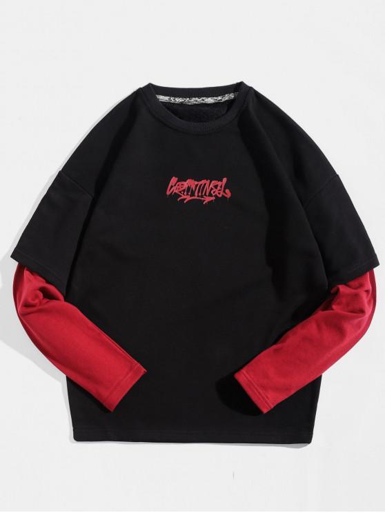 hot Color Panel Sleeve Letter Print Pullover Sweatshirt - BLACK L
