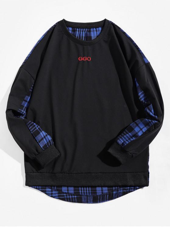 チェック柄スプライシングレタープリントハイロースウェットシャツ - 青 L