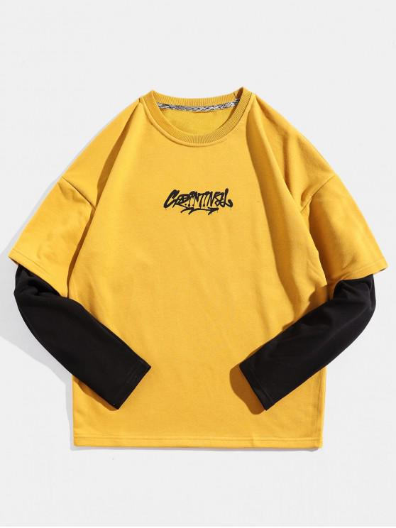 online Color Panel Sleeve Letter Print Pullover Sweatshirt - YELLOW M