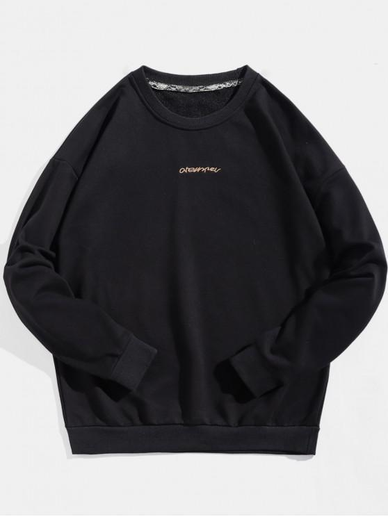 fancy Pullover Patch Design Letter Embroidery Sweatshirt - BLACK M
