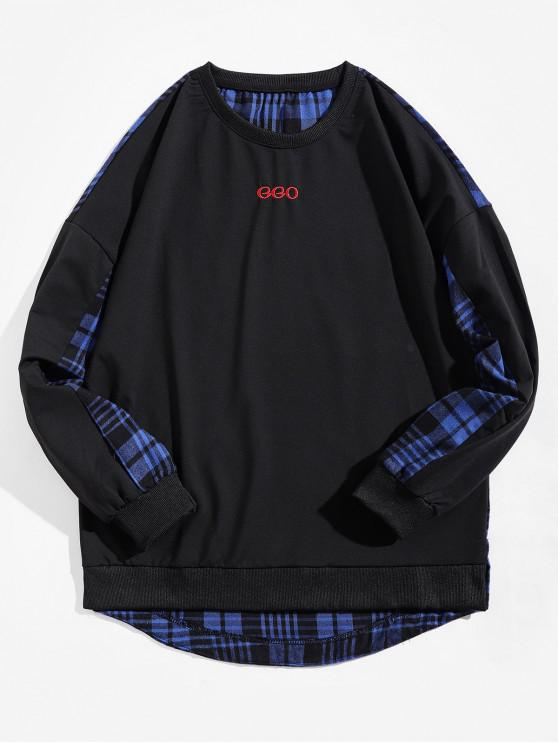 shops Plaid Splicing Letter Print High Low Sweatshirt - BLUE XS