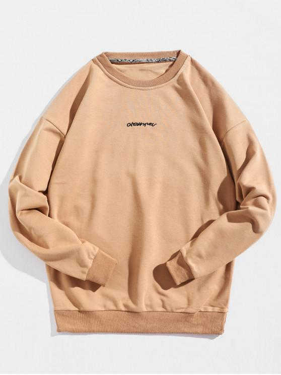 affordable Pullover Patch Design Letter Embroidery Sweatshirt - BROWN SUGAR 2XL