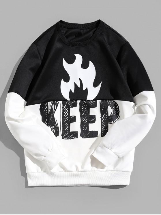 women's Keep Letter Flame Print Colorblock Spliced Pullover Sweatshirt - BLACK M