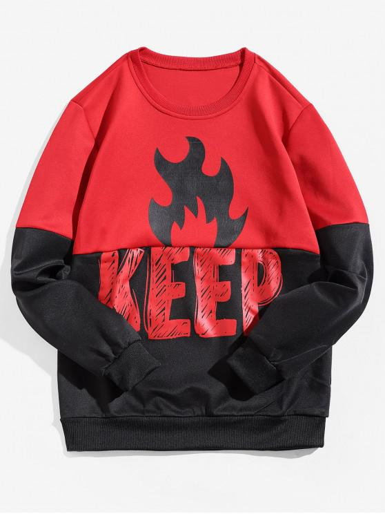 lady Keep Letter Flame Print Colorblock Spliced Pullover Sweatshirt - RED M
