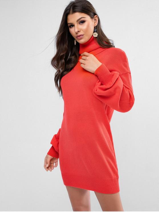 women Turtleneck Drop Shoulder Mini Sweater Dress - RED S