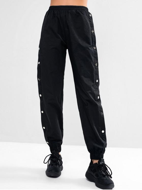 ZAFUL Pantalon Embelli de Bouton à Taille Haute avec Poche - Noir M