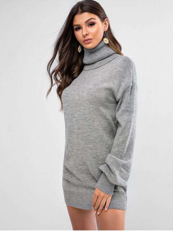 fancy Turtleneck Drop Shoulder Mini Sweater Dress - GRAY M