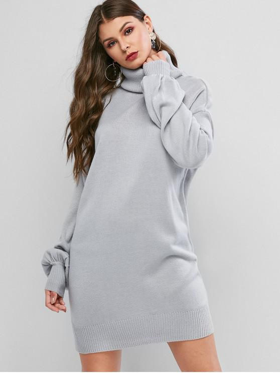 women Turtleneck Drop Shoulder Mini Sweater Dress - LIGHT GRAY S
