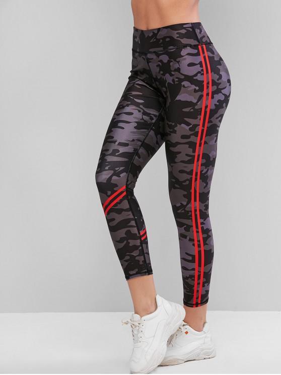 Leggings de entrenamiento de gimnasio de cintura alta con panel de rayas de camuflaje - ACU Camuflaje XL