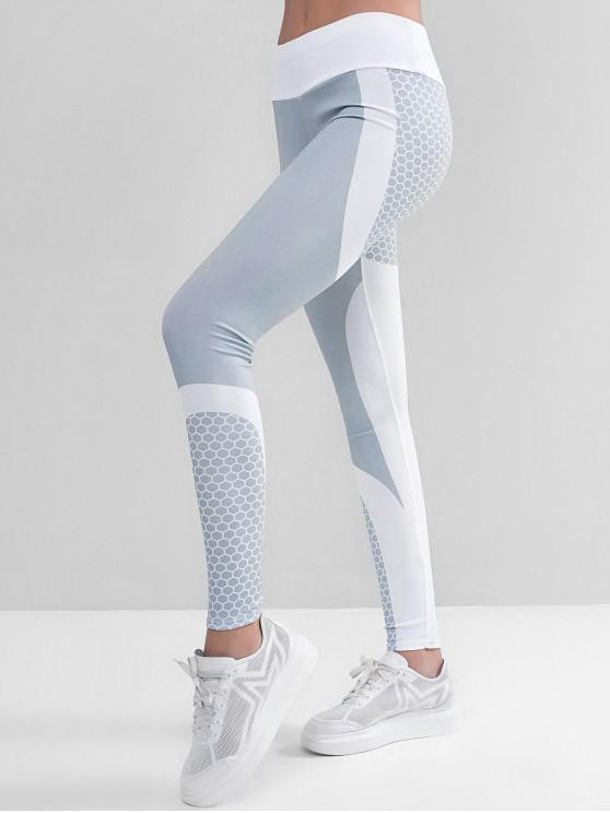 chic Two Tone Honeycomb Workout Gym Leggings - WHITE XL