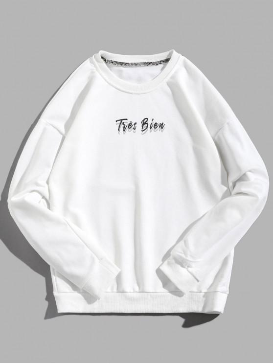 プルオーバーレタープリントドロップショルダースリーブスウェットシャツ - 白 XL