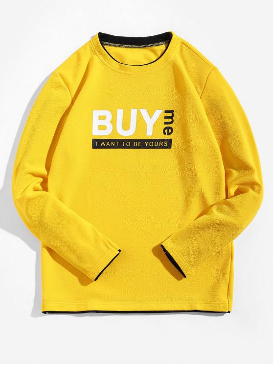 unique Buy Me Letter Print Contrast Trim Spliced Sweatshirt - YELLOW M