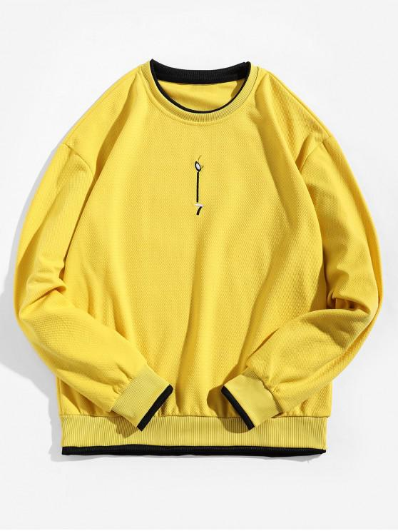 Contraste Trim False Two Pieces Ringer Sudadera - Amarillo S