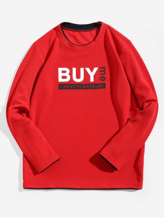 womens Buy Me Letter Print Contrast Trim Spliced Sweatshirt - RED M