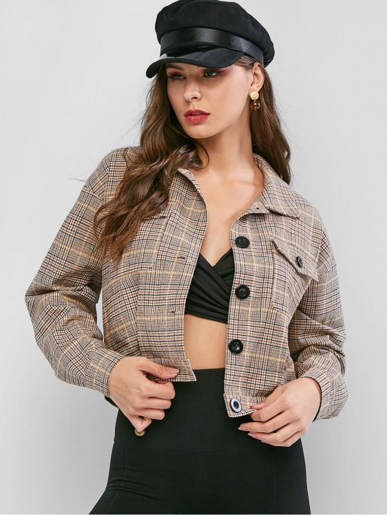 fashion ZAFUL Plaid Single Breasted Drop Shoulder Pocket Jacket - DARK GOLDENROD S