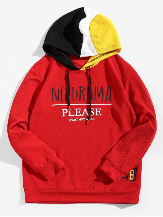 Sudadera con capucha y estampado gráfico con bloqueo de color de Letter - Rojo XS