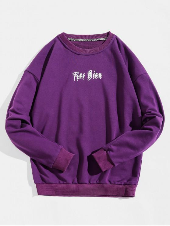 best Pullover Letter Printed Drop-shoulder Sleeve Sweatshirt - PURPLE XL