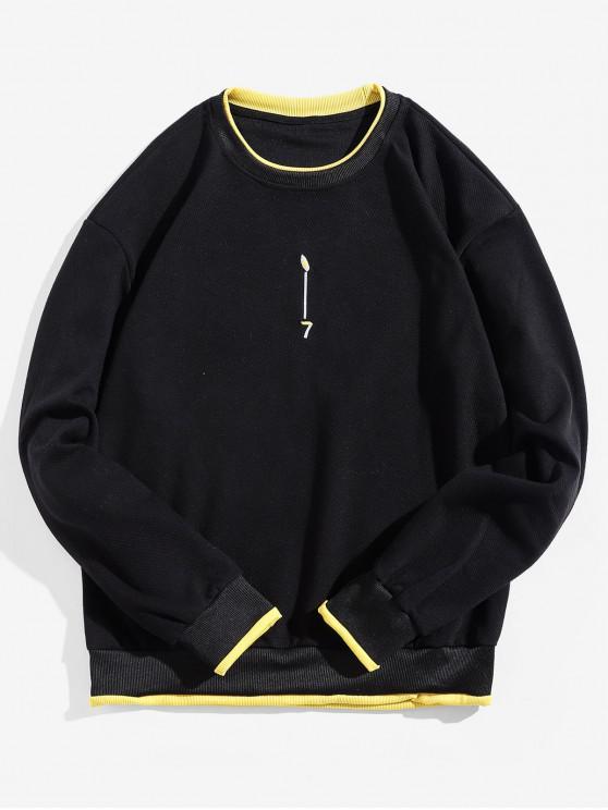 affordable Contrast Trim False Two Pieces Ringer Sweatshirt - BLACK XS