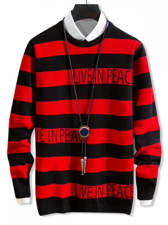 fashion Live In Peace Letter Graphic Colorblock Stripes Sweater - RED M