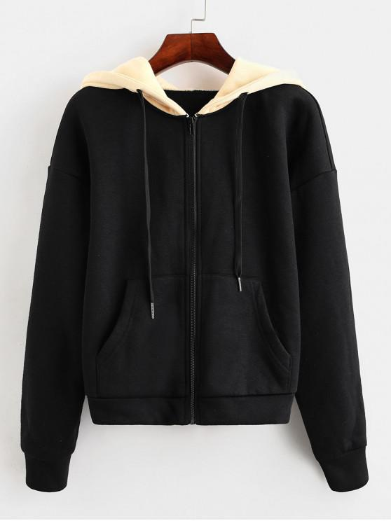 unique ZAFUL Colorblock Hooded Pocket Drop Shoulder Jacket - MULTI-A M