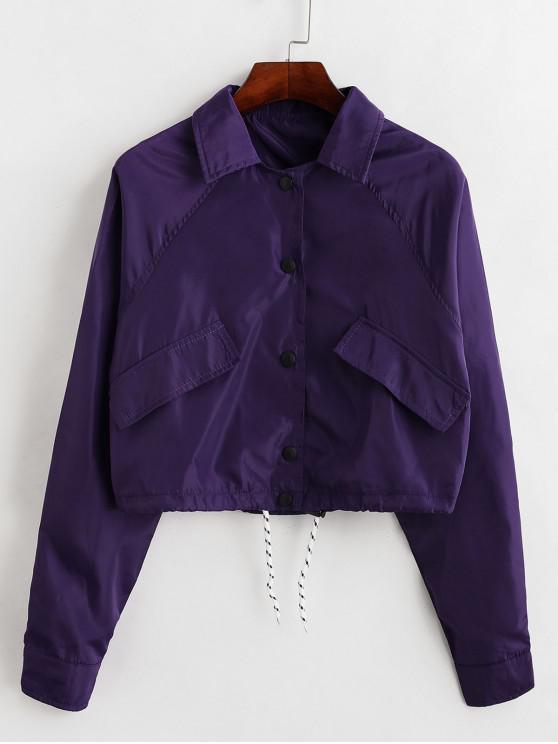 sale Faux Pockets Raglan Sleeve Snap Button Windbreaker Jacket - PURPLE L