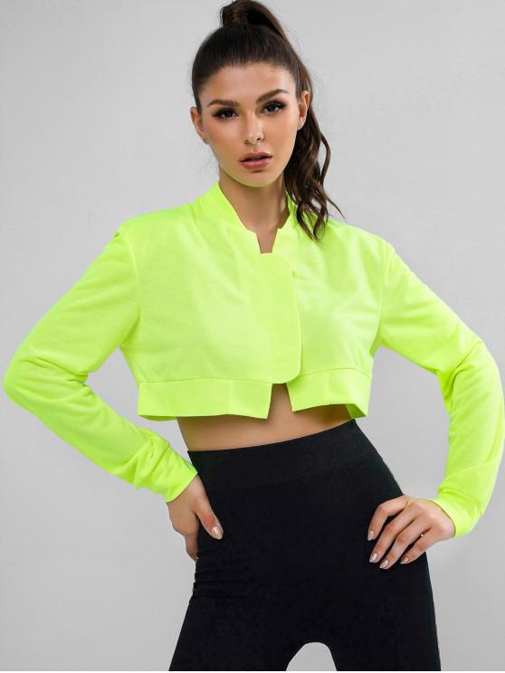 latest Neon Cropped Jacket - GREEN YELLOW M