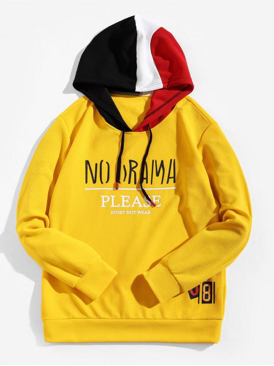 affordable Letter Graphic Color-blocking Spliced Hoodie - YELLOW XS