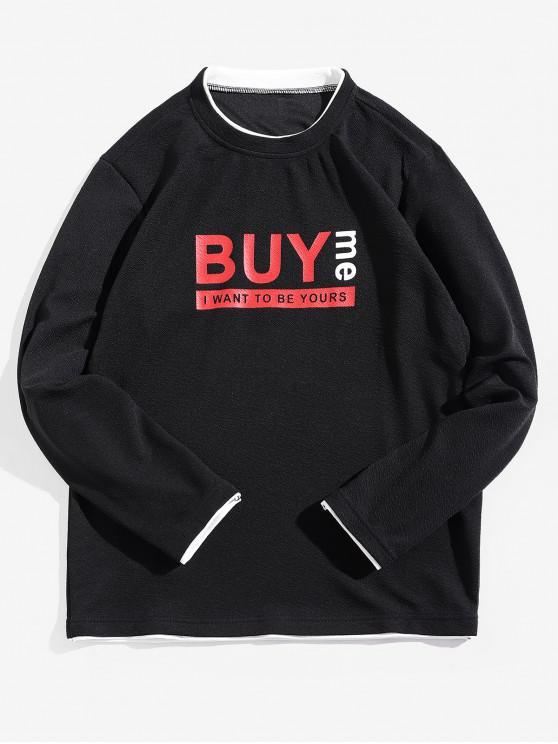 women Buy Me Letter Print Contrast Trim Spliced Sweatshirt - BLACK S