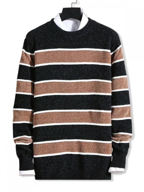 shop Contrast Striped Graphic Crew Neck Sweater - BLACK S