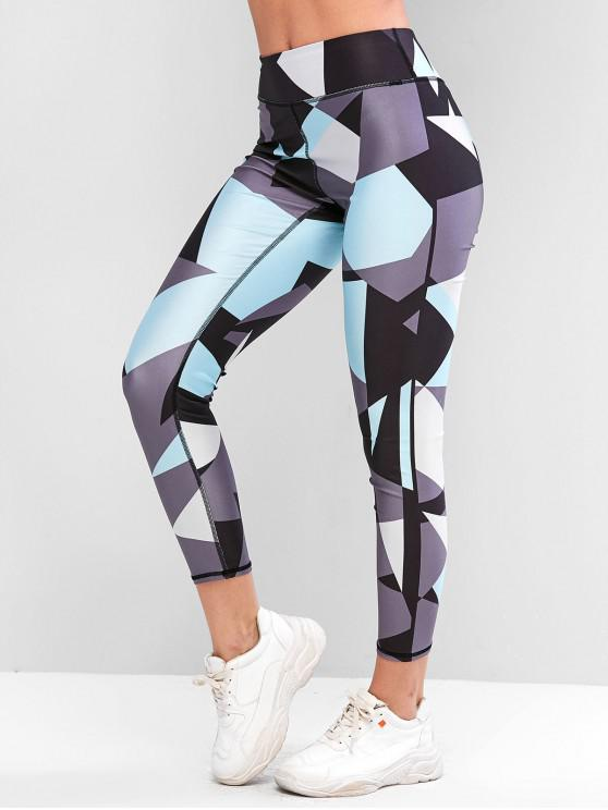 latest Color-blocking Stretchy High Waisted Gym Leggings - MEDIUM TURQUOISE M