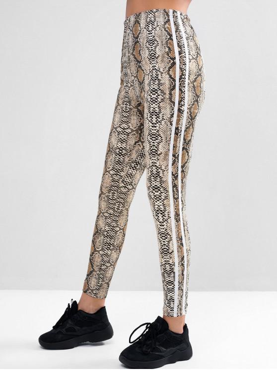 womens ZAFUL Snakeskin Striped Side High Waisted Leggings - MULTI-A M