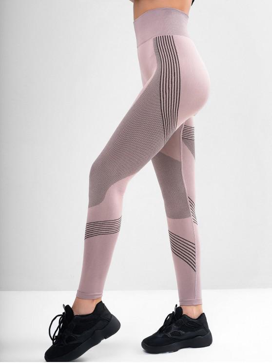 unique Striped Skinny High Waisted Leggings - KHAKI ROSE L