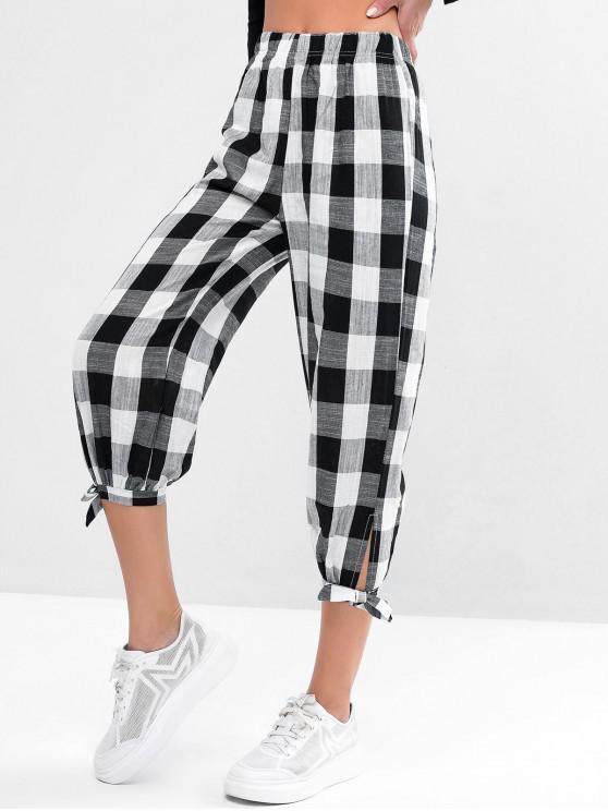 Pantalones de jogging de cintura alta a cuadros con dobladillo atado - Negro Talla única