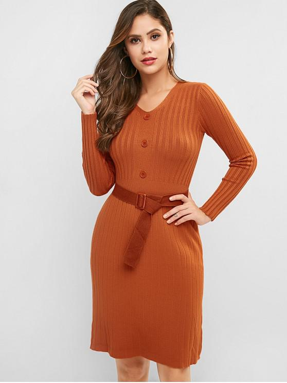 outfit Ribbed Long Sleeve Belted Sheath Sweater Dress - LIGHT BROWN ONE SIZE