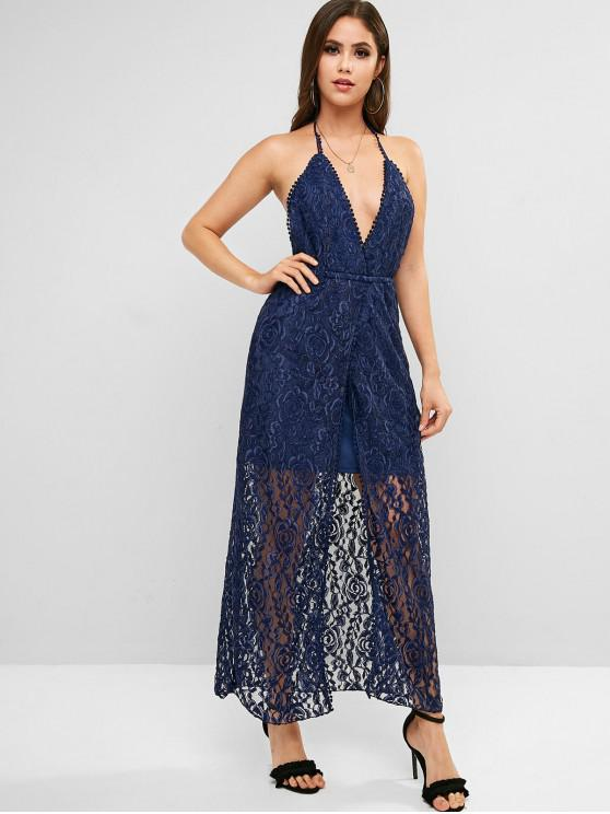 lady Halter Prom Backless Lace Maxi Dress - BLUE M