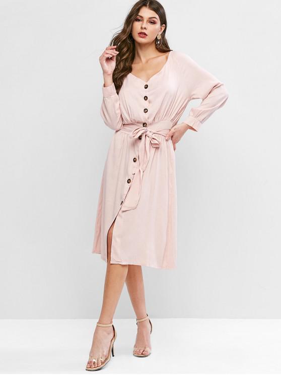 outfits Raglan Sleeve Button Through Belted Dress - SAKURA PINK XL