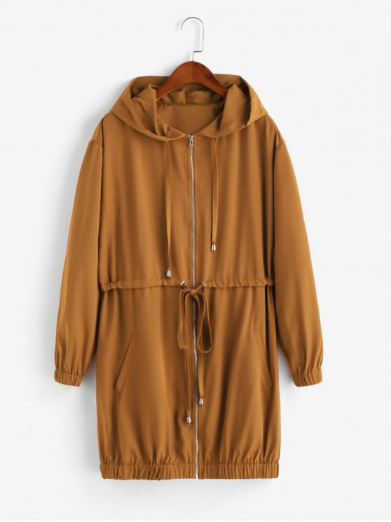 trendy ZAFUL Zip Up Drawstring Solid Hooded Coat - LIGHT BROWN M