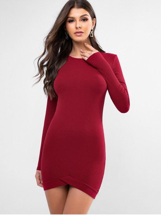 fashion Solid Color Overlap Hem Sheath Dress - RED M