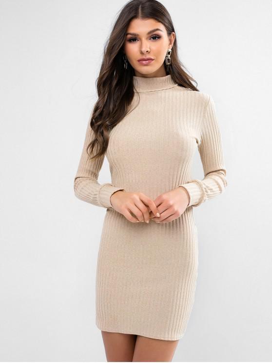 outfit Turtleneck Ribbed Bodycon Knit Dress - LIGHT KHAKI M
