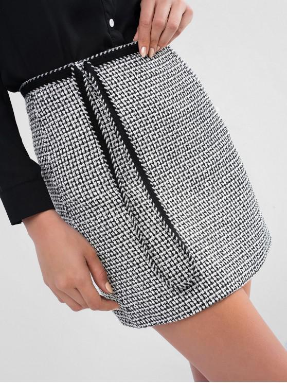 Falda corta ajustada de Tweed ZAFUL Whip Stitch - Negro S