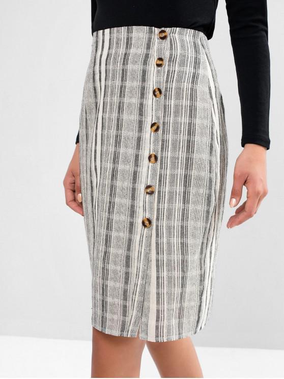 affordable ZAFUL Button Up Slit Stripes Sheath Skirt - MULTI-A M