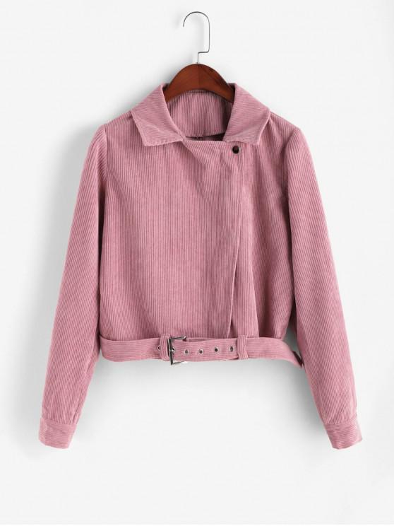 women's ZAFUL Zip Up Belted Corduroy Jacket - BLUSH RED XL